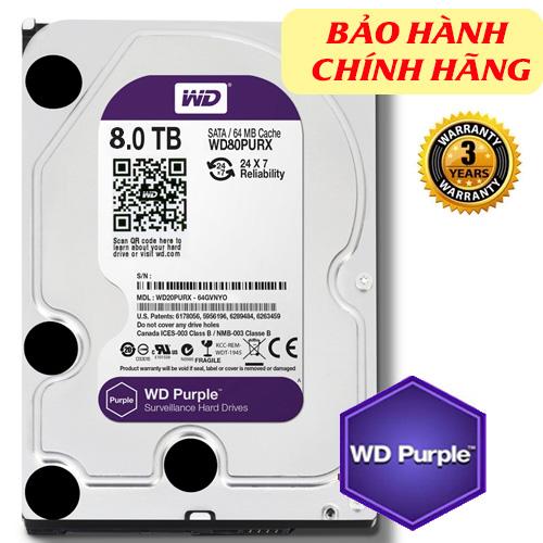 HDD Western Purple 8TB dòng ổ cứng chuyên dụng cho camera, 128MB (6Gb/s) /IntelliPower (RPM)/ SATA3), Màu tím (chính hãng)