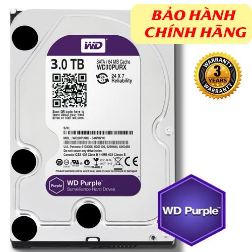 Western Purple 3TB dòng ổ cứng chuyên dụng cho camera, ghi hình liên tục 24/7 (chính hãng)